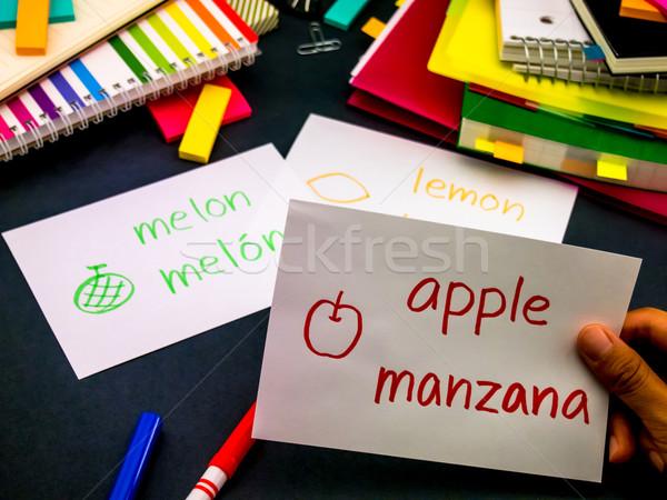 Learning New Language Making Original Flash Cards; Spanish Stock photo © user_9323633