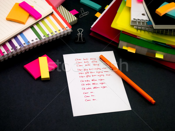 Aprendizaje nuevos idioma escrito palabras muchos Foto stock © user_9323633