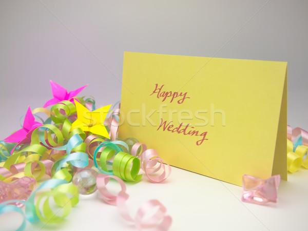 Massagem cartão feliz casamento mensagem família Foto stock © user_9323633