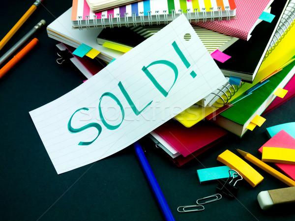 Mensagem trabalhando secretária vendido livro escolas Foto stock © user_9323633