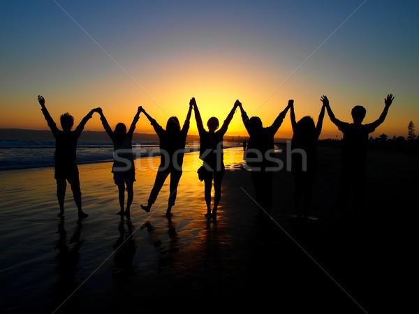 Sol conjunto silhueta praia San Diego céu Foto stock © user_9323633