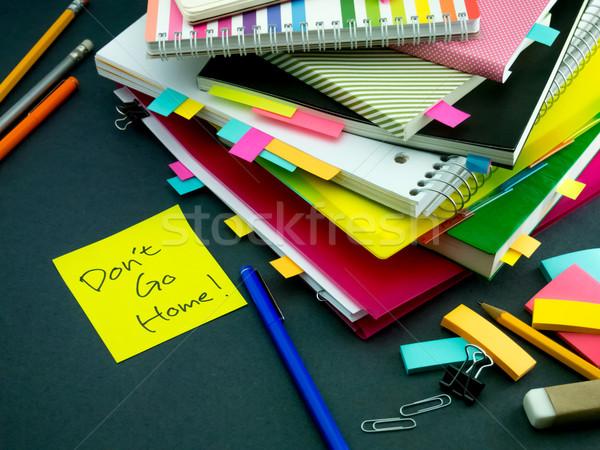 Mensagem trabalhando secretária casa negócio escritório Foto stock © user_9323633