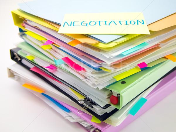 Negocios documentos negociación enorme escritorio Foto stock © user_9323633