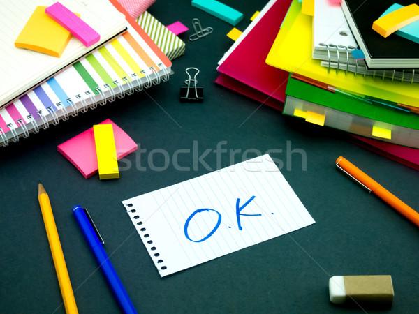 Mensagem trabalhando secretária escritório escolas Foto stock © user_9323633