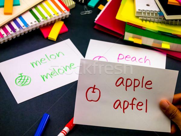 Learning New Language Making Original Flash Cards; German Stock photo © user_9323633
