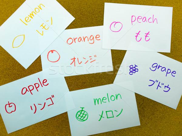 Linguagem flash cartões japonês aprendizagem nome Foto stock © user_9323633