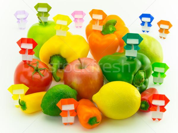Origami ninja legumes frutas colorido jogar Foto stock © user_9323633