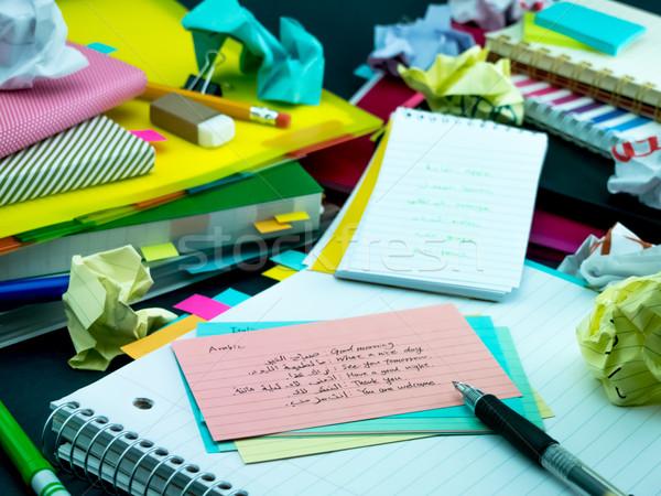 Nauki nowego język piśmie słowa wiele Zdjęcia stock © user_9323633