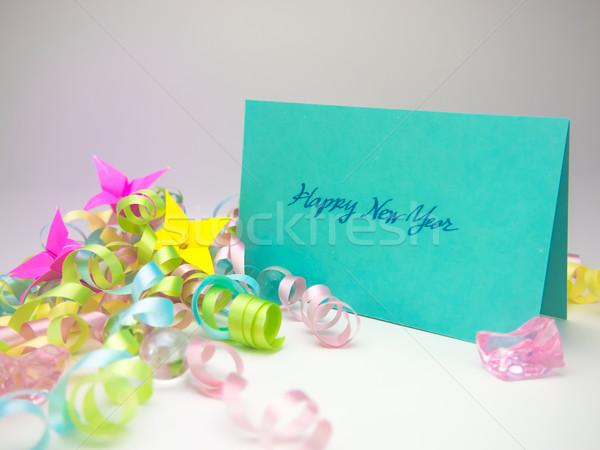 Massage kaart gelukkig jaar bericht familie Stockfoto © user_9323633