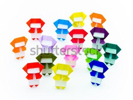 Colorido origami ninja bonitinho jogar juntos Foto stock © user_9323633