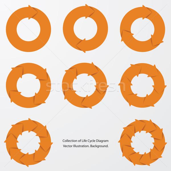 collection of orange color arrow circle flows. Stock photo © user_9385040