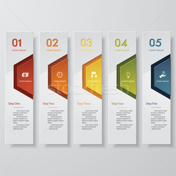 Design clean number banners template. 5 colors/ 5 options.Vector. Stock photo © user_9385040