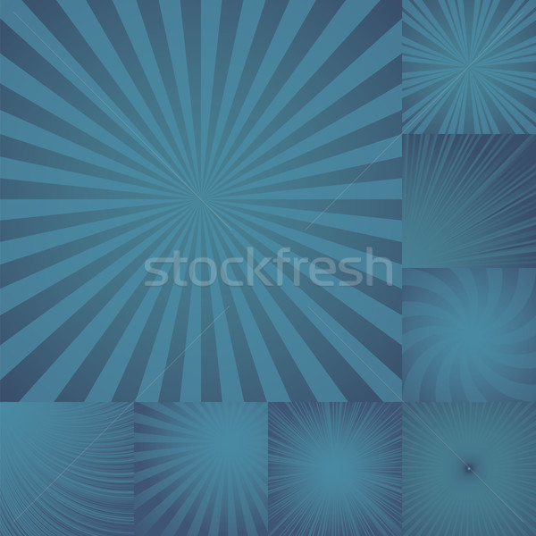 Stock photo: collection of color dark blue burst background.