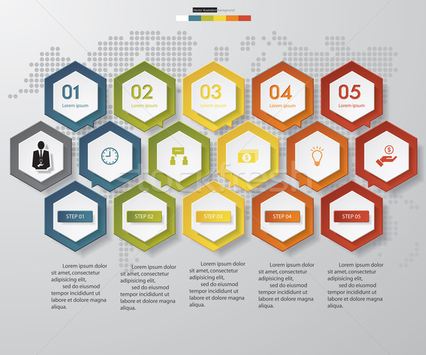 Stappen grafiek diagrammen website lay-out Stockfoto © user_9385040