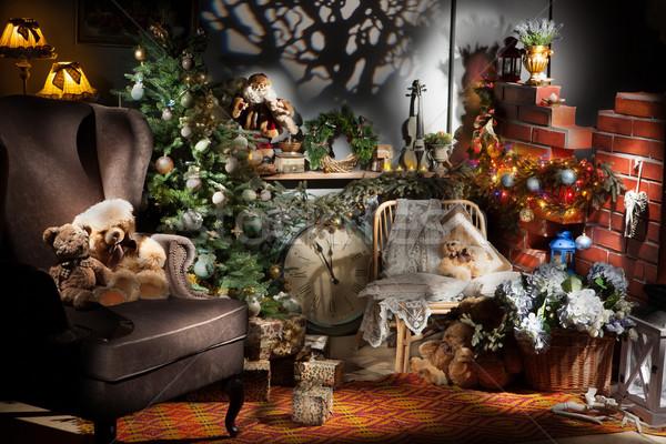 Navidad naturaleza muerta lámparas muebles árbol Foto stock © user_9834712
