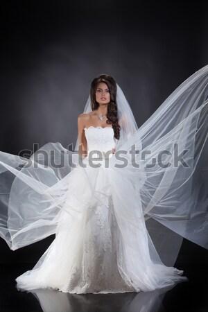 молодые невеста подвенечное платье лице любви Сток-фото © user_9834712