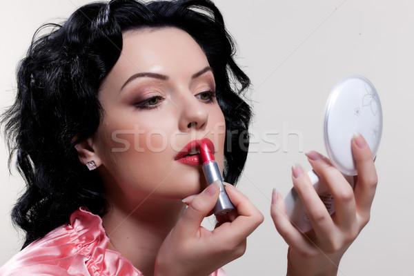 若い女性 適用 化粧品 小さな 美人 手 ストックフォト © user_9834712
