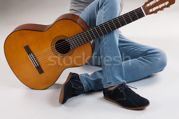 Piernas guitarra estudio música fondo hombres Foto stock © user_9834712