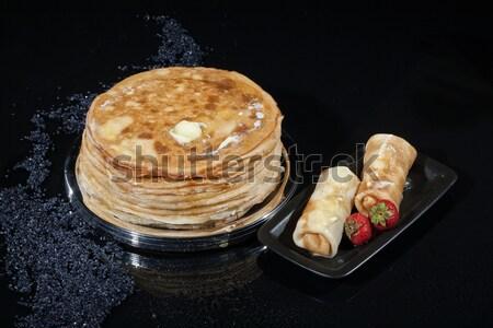Palacsinták üveg tányér stúdió eper csepp Stock fotó © user_9834712