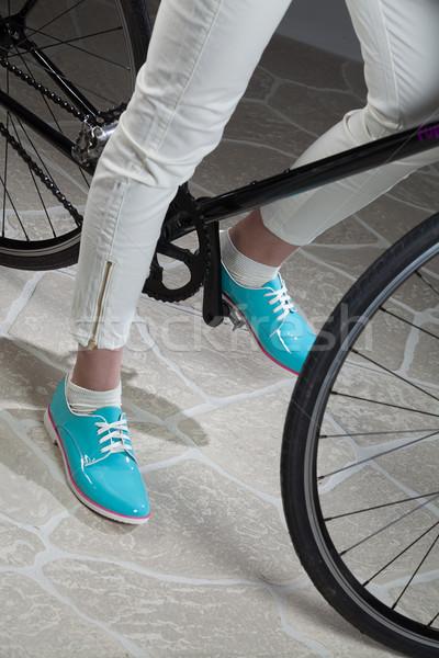 Benen fiets studio kunstmatig stenen vrouw Stockfoto © user_9834712