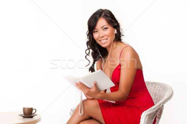 若い女性 読む 電子 図書 小さな ブルネット ストックフォト © user_9834712