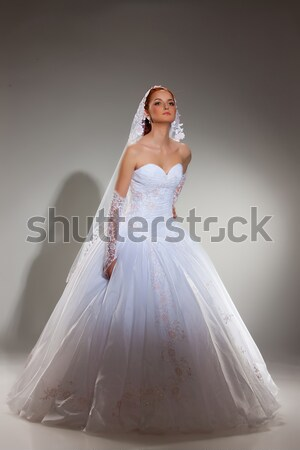 Genç güzel bir kadın gelinlik güzel sarışın kadın stüdyo Stok fotoğraf © user_9834712