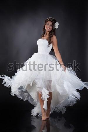 Jóvenes novia mujer hermosa vestido de novia estudio cara Foto stock © user_9834712
