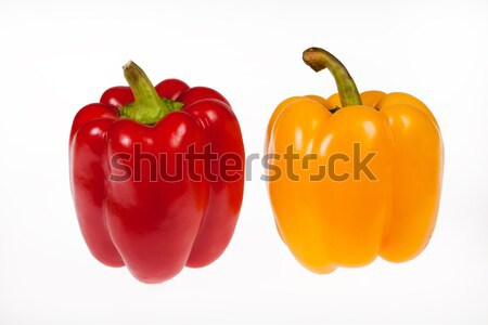 Foto stock: Dos · aislado · pimientos · rojo · amarillo · estudio