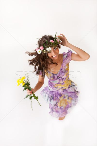 Flor guirnalda flores aislado mujeres Foto stock © user_9834712