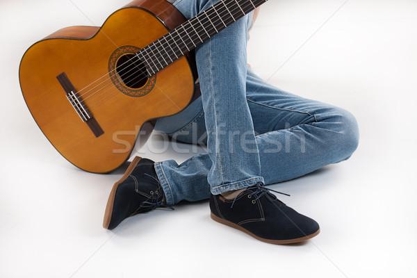 Lábak gitár stúdió zene háttér férfiak Stock fotó © user_9834712