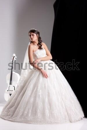 Fiatal menyasszony fiatal nő esküvői ruha arc szeretet Stock fotó © user_9834712