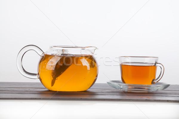 Theepot beker thee glas geïsoleerd studio Stockfoto © user_9834712