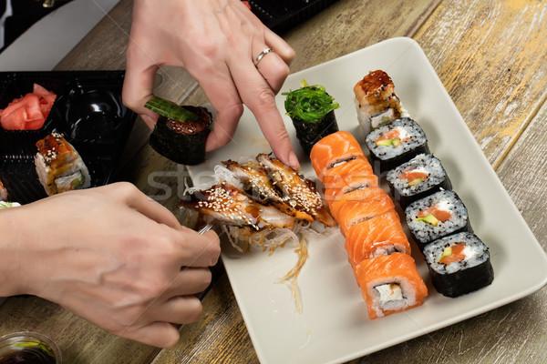 日本語 寿司 表 異なる 伝統的な 食品 ストックフォト © user_9834712