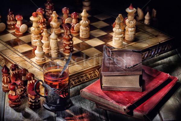 Sakk tea könyvek fából készült öreg üveg Stock fotó © user_9834712