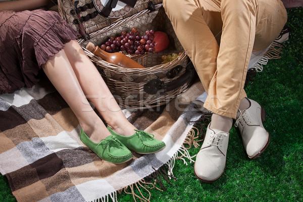女性 男 ピクニック用バスケット 脚 ピクニック ストックフォト © user_9834712
