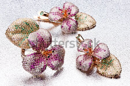 Handmade Ring And Earrings On Metal Background Stock photo © user_9834712