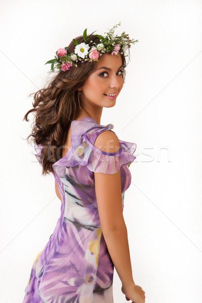 Stock fotó: Fiatal · nő · virág · girland · virágok · izolált · nők