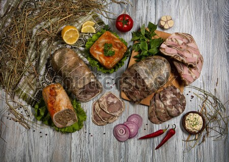 肉 野菜 古い 木製のテーブル 食品 木材 ストックフォト © user_9834712