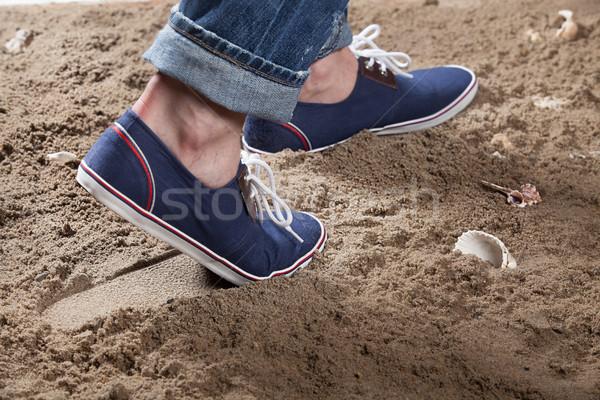 Lábak lábnyom homok tengerpart férfi nyár Stock fotó © user_9834712