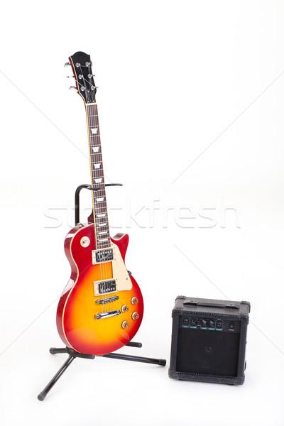 Stock fotó: Elektromos · gitár · izolált · zene · művészet · kő · retro