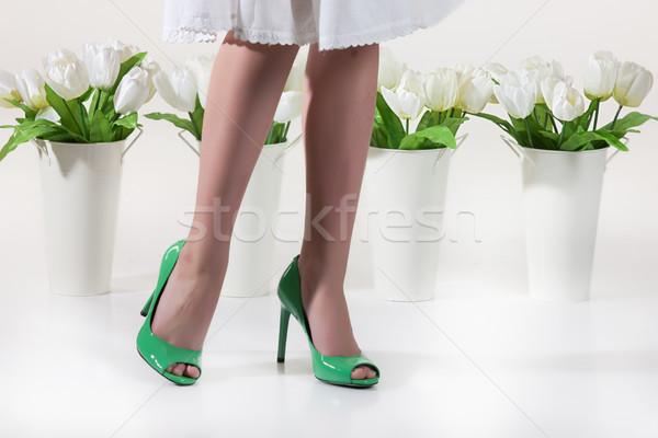 Piernas flores flores blancas aislado estudio mujeres Foto stock © user_9834712