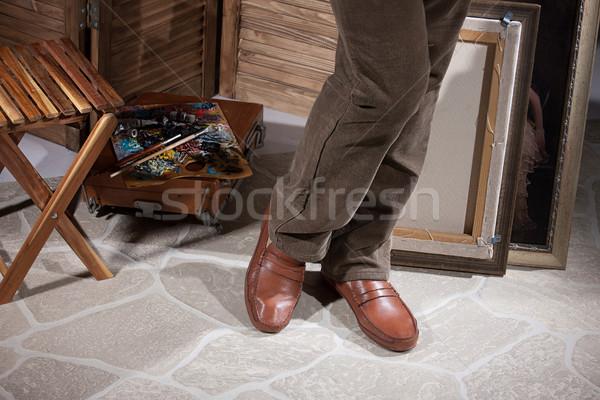 Nogi palety nie opis człowiek drewna Zdjęcia stock © user_9834712