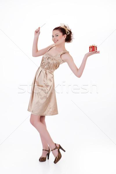 Fiatal érzelmes nő ajándék doboz gyönyörű ajándék Stock fotó © user_9834712