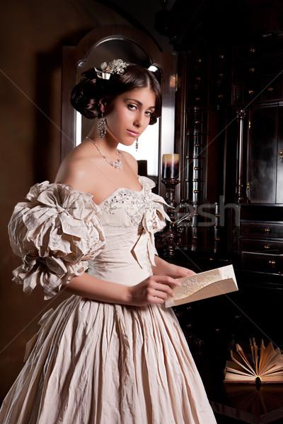 Fiatal menyasszony gyönyörű nő esküvői ruha áll öreg Stock fotó © user_9834712
