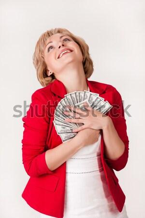 Stock fotó: Nő · pénz · fiatal · nő · köteg · dollár · bankjegyek
