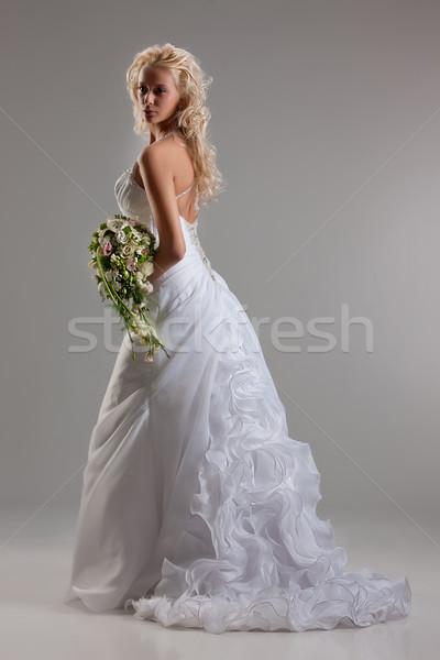 Fiatal gyönyörű menyasszony szőke nő divatos esküvői ruha Stock fotó © user_9834712
