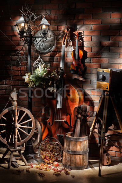 Still Life With Old Camera And Musical Instruments  Stock photo © user_9834712