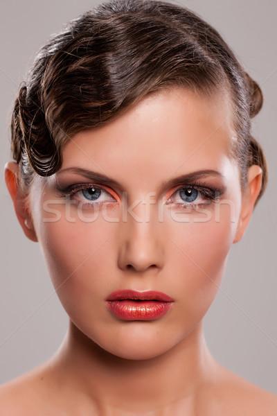 Foto stock: Retrato · artístico · peinado · mujer · mujeres
