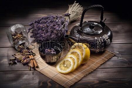 Tea citrom edény darabok fából készült asztal Stock fotó © user_9834712
