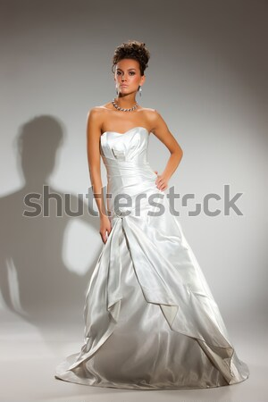 молодые красивая женщина подвенечное платье красивой студию Сток-фото © user_9834712